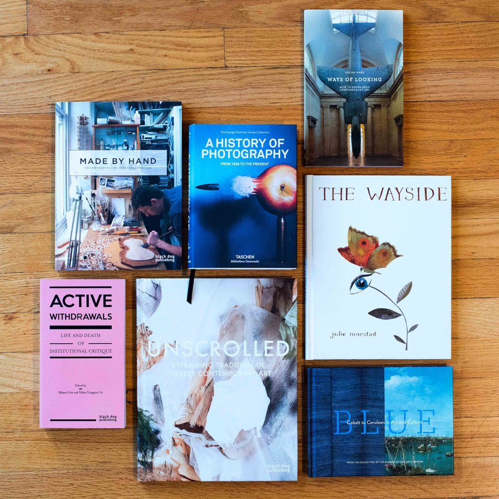 An assortment of books available at the Gallery Shop.