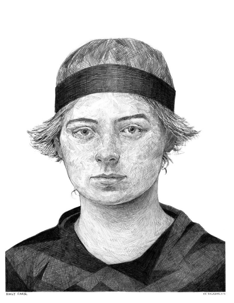 "Ehren Salazar   Emily Carr   Graphite on paper (digital print on 120lb paper)   8.5"" x 11""   2016"